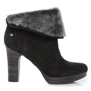 Ugg Dandylion Suede Fur Cuff Ankle Boots Sz 8.5